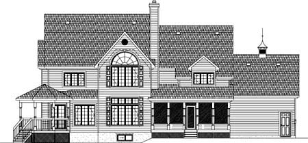 House Plan 49948 with 4 Beds, 3 Baths, 1 Car Garage Rear Elevation