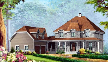 House Plan 49949 with 4 Beds, 3 Baths, 2 Car Garage Elevation