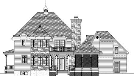 House Plan 49949 with 4 Beds, 3 Baths, 2 Car Garage Rear Elevation