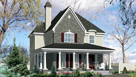 House Plan 49956 with 3 Beds, 2 Baths Elevation