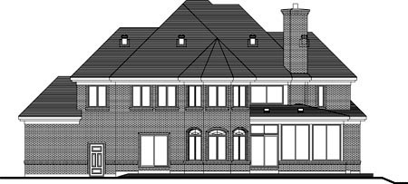House Plan 49964 with 3 Beds, 3 Baths, 3 Car Garage Rear Elevation