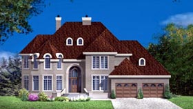 House Plan 49972 with 4 Beds, 4 Baths, 2 Car Garage Elevation