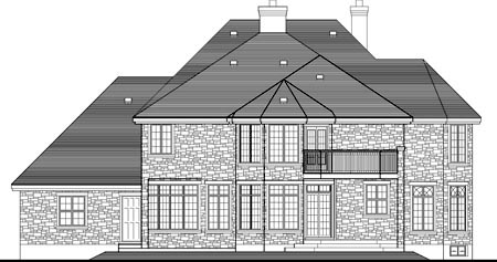 House Plan 49972 with 4 Beds, 4 Baths, 2 Car Garage Rear Elevation