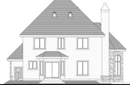 Rear Elevation of Plan 49984
