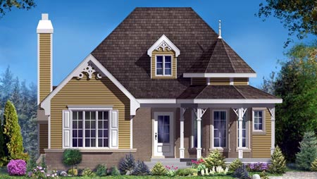 House Plan 49985 with 2 Beds, 1 Baths Elevation