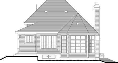 House Plan 49985 with 2 Beds, 1 Baths Rear Elevation