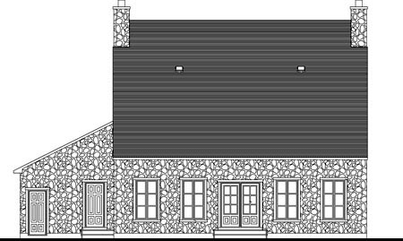 Rear Elevation of Plan 49987