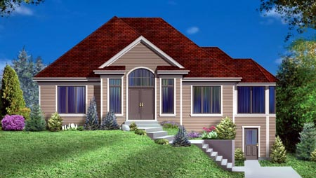 House Plan 49994 with 2 Beds, 3 Baths, 2 Car Garage Elevation