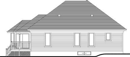 House Plan 49994 with 2 Beds, 3 Baths, 2 Car Garage Rear Elevation