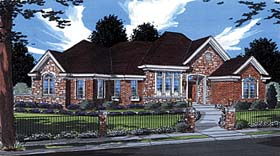 House Plan 50000 | European Style Plan with 2514 Sq Ft, 3 Bedrooms, 3 Bathrooms, 2 Car Garage Elevation