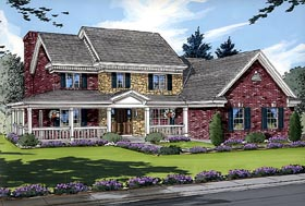 House Plan 50005 | Country Style Plan with 2764 Sq Ft, 4 Bedrooms, 3 Bathrooms, 2 Car Garage Elevation