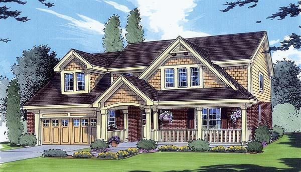Bungalow, Country House Plan 50006 with 4 Beds, 3 Baths, 2 Car Garage Elevation