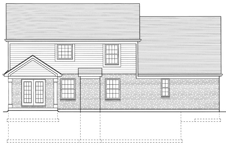 Bungalow , Country , Rear Elevation of Plan 50006