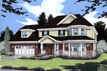 Country, Farmhouse, Victorian House Plan 50009 with 3 Beds, 3 Baths, 2 Car Garage Elevation