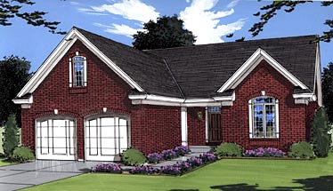 European Ranch Traditional House Plan 50010 Elevation