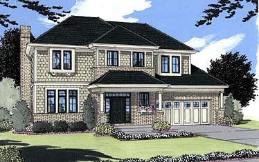 Colonial Southern Elevation of Plan 50011