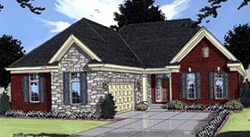 Traditional House Plan 50014 with 3 Beds, 3 Baths, 2 Car Garage Elevation