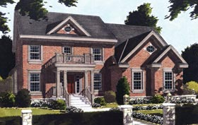 House Plan 50020   Colonial Style Plan with 3366 Sq Ft, 4 Bedrooms, 4 Bathrooms, 3 Car Garage Elevation