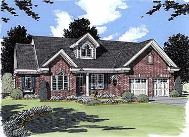 House Plan 50022 | Traditional Style Plan with 2560 Sq Ft, 4 Bed, 3 Bath, 2 Car Garage Elevation