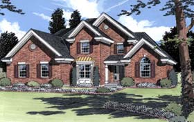 House Plan 50023 | European Traditional Style Plan with 2332 Sq Ft, 4 Bedrooms, 3 Bathrooms, 2 Car Garage Elevation