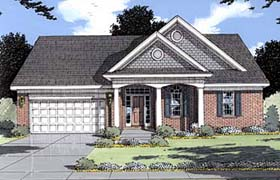 House Plan 50024 | Colonial Ranch Style Plan with 1544 Sq Ft, 3 Bedrooms, 2 Bathrooms, 2 Car Garage Elevation
