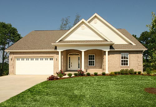 Colonial, One-Story, Ranch House Plan 50024 with 3 Beds, 2 Baths, 2 Car Garage Picture 1