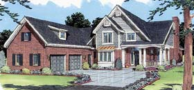 Country , Traditional House Plan 50028 with 4 Beds, 3 Baths, 2 Car Garage Elevation