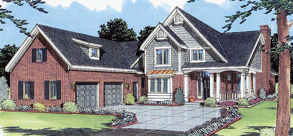 Country, Traditional House Plan 50028 with 4 Beds, 3 Baths, 2 Car Garage Elevation