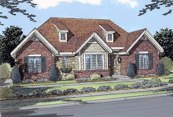 House Plan 50029 | Traditional Style Plan with 3263 Sq Ft, 3 Bedrooms, 3 Bathrooms, 2 Car Garage Elevation