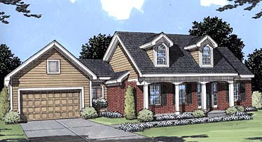 Cape Cod, Country House Plan 50030 with 3 Beds, 3 Baths, 2 Car Garage Elevation