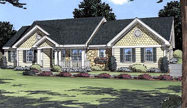 House Plan 50031 | Ranch, Traditional Style House Plan with 1751 Sq Ft, 3 Bed, 2 Bath, 2 Car Garage Elevation