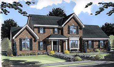 Colonial , Traditional , Elevation of Plan 50033