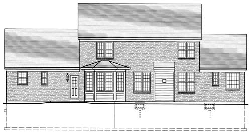 Colonial , Traditional , Rear Elevation of Plan 50033
