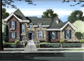 House Plan 50034 | European Style Plan with 1895 Sq Ft, 3 Bedrooms, 3 Bathrooms, 2 Car Garage Elevation