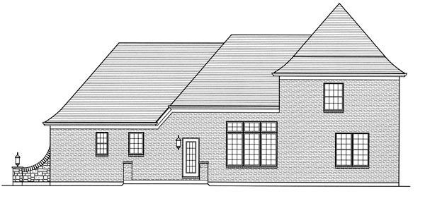 European House Plan 50034 Rear Elevation