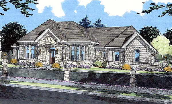 Contemporary, European House Plan 50037 with 3 Beds, 2 Baths, 2 Car Garage Elevation