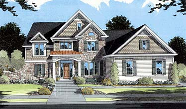 House Plan 50039 | European Traditional Style Plan with 2484 Sq Ft, 4 Bedrooms, 4 Bathrooms, 2 Car Garage Elevation
