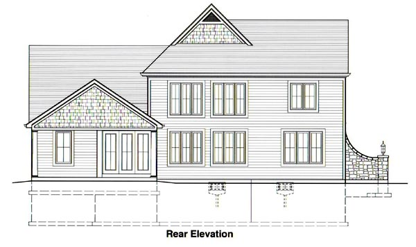 House Plan 50039 | European Traditional Style Plan with 2484 Sq Ft, 4 Bedrooms, 4 Bathrooms, 2 Car Garage Rear Elevation