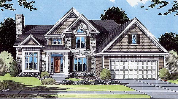 Bungalow, Traditional House Plan 50040 with 3 Beds, 3 Baths, 2 Car Garage Elevation