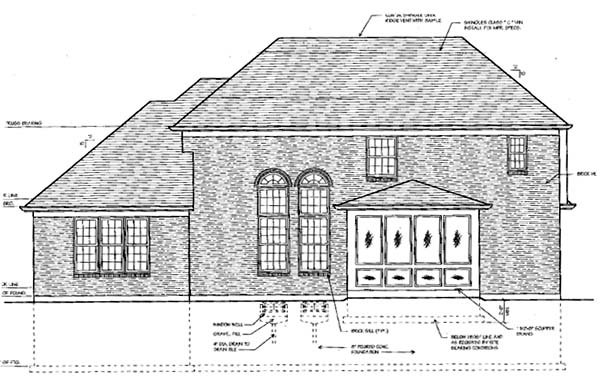 European, Traditional House Plan 50041 with 4 Beds, 4 Baths, 2 Car Garage Rear Elevation