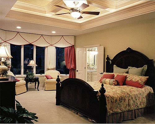 The spacious master bedroom is situated for privacy from the rest of the home.
