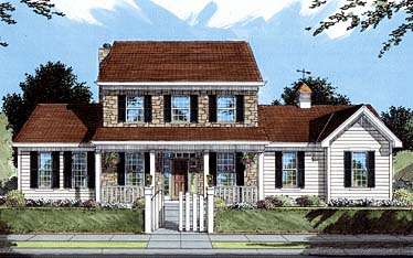Colonial Country Elevation of Plan 50045