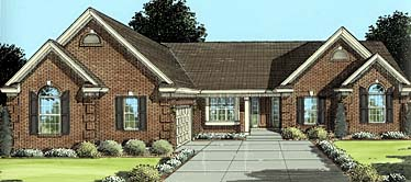 One-Story, Ranch, Traditional House Plan 50047 with 3 Beds , 2 Baths , 2 Car Garage Elevation