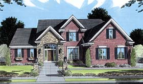 Traditional House Plan 50049 with 3 Beds, 3 Baths, 2 Car Garage Elevation