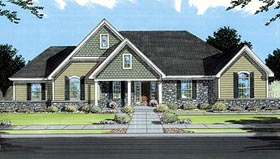 House Plan 50052 with 3 Beds, 2 Baths, 2 Car Garage Elevation