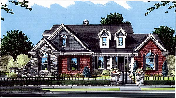 Bungalow, Country, Traditional House Plan 50053 with 4 Beds, 3 Baths, 2 Car Garage Front Elevation