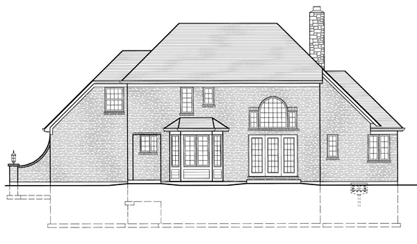 Bungalow, European, Traditional House Plan 50055 with 4 Beds, 4 Baths Rear Elevation