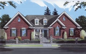 House Plan 50056 | Traditional Style Plan with 1874 Sq Ft, 3 Bedrooms, 2 Bathrooms, 3 Car Garage Elevation