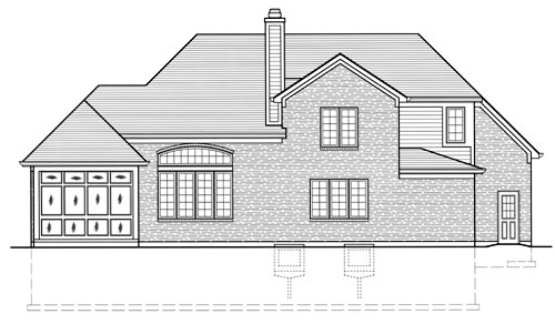 European House Plan 50058 Rear Elevation