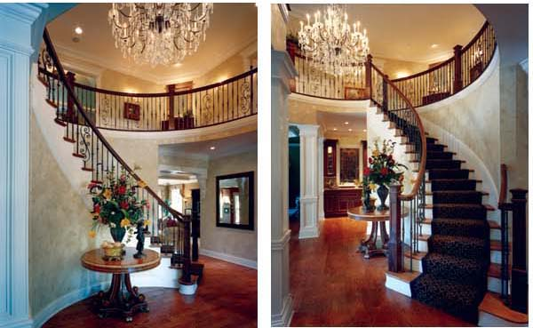 A graceful staircase serves as a striking centerpiece for the gallery.